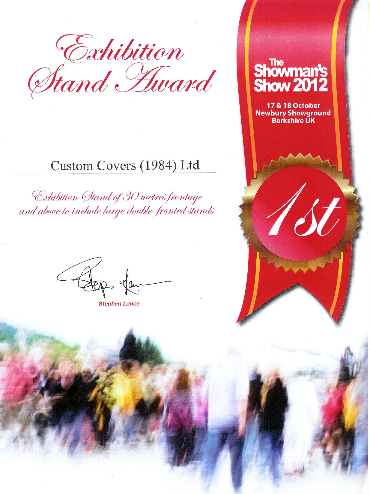 1st prize Showman's Show 2012 Exhibition stand award
