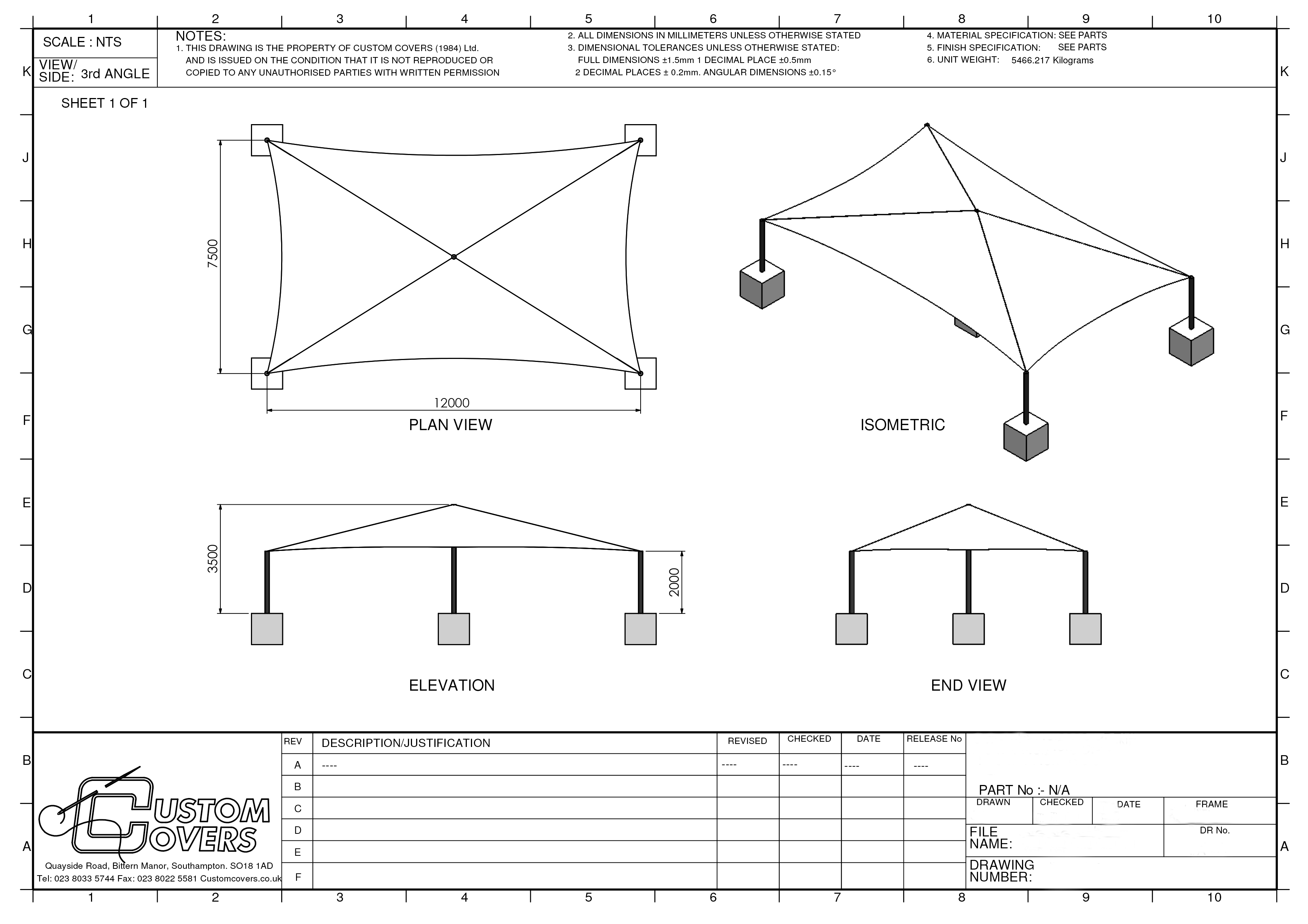 DWG15232 - Sheet 1  sc 1 st  Custom Covers & Tensile Structures - Custom Covers