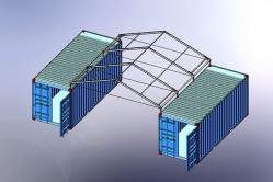 Two Containers with a Marquee Frame Roof as Canopy