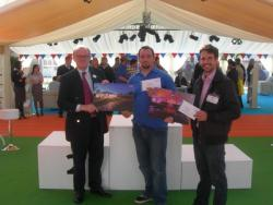 Bill Richmond from Buster Marquees and Ed Buchannan from Academy picking up their first prize cheques