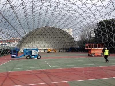 tennis court cover installation clear sky