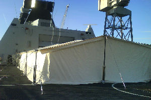 Ceremonial awning on destroyer